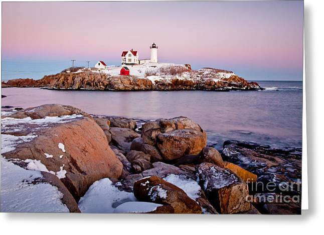 Cape Neddick Greeting Cards - Nubble Winter Dusk Greeting Card by Susan Cole Kelly