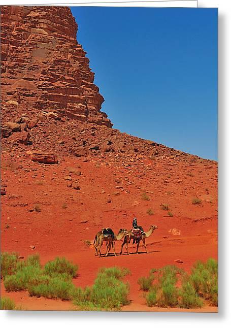 Jordan Photographs Greeting Cards - Nubian Camel Rider Greeting Card by Tony Beck