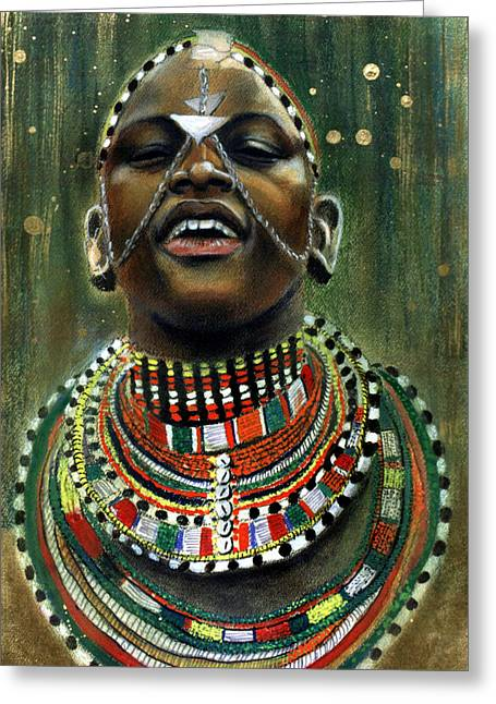 African-americans Pastels Greeting Cards - Nubian Dream Greeting Card by Gary Williams