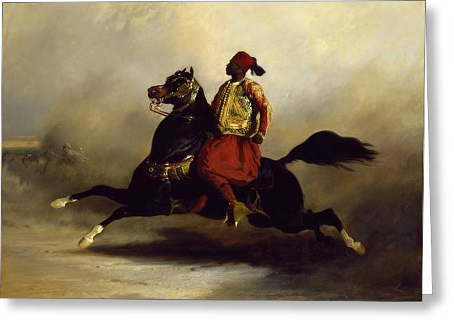 Horseman Greeting Cards - Nubian Horseman at the Gallop Greeting Card by Alfred Dedreux or de Dreux