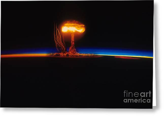 Atom Bomb Greeting Cards - Nuclear Explosion Greeting Card by Stocktrek Images