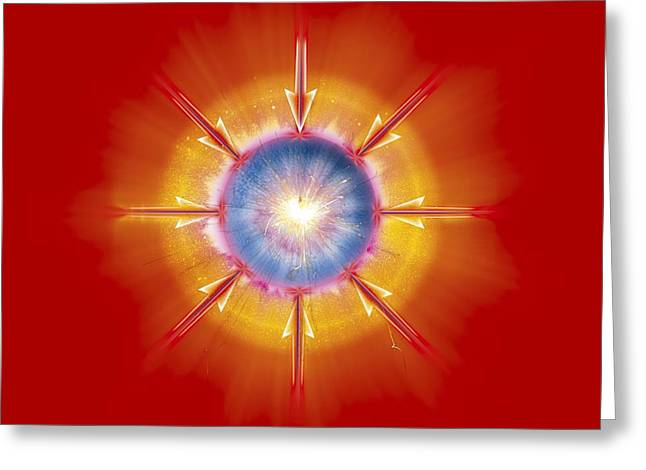 Helium Greeting Cards - Nuclear Fusion, Conceptual Artwork Greeting Card by Claus Lunau