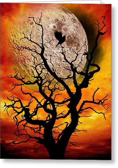 Silhouette Digital Art Greeting Cards - Nuclear Moonrise Greeting Card by Meirion Matthias