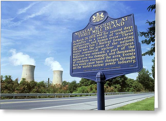 Meltdown Greeting Cards - Nuclear Power Station Accident Plaque Greeting Card by Martin Bond