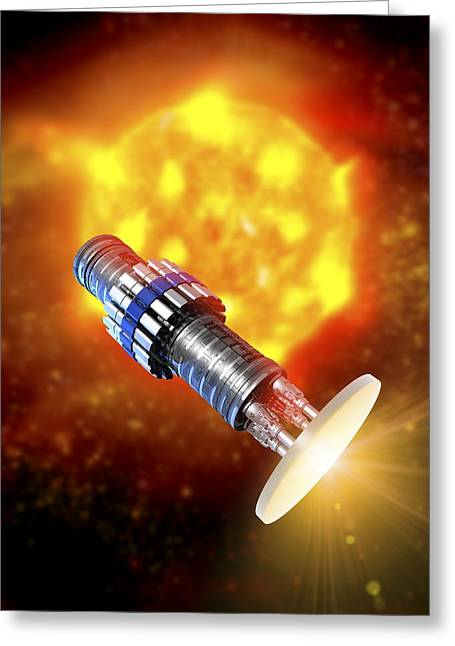 Detonation Greeting Cards - Nuclear Pulse Spacecraft, Artwork Greeting Card by Victor Habbick Visions