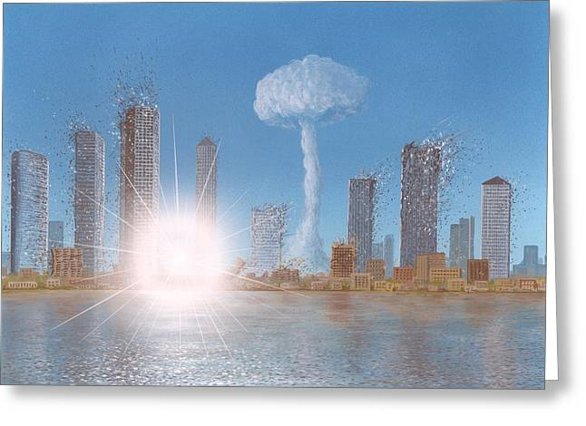 End Of War Greeting Cards - Nuclear Strike On A City, Artwork Greeting Card by Richard Bizley
