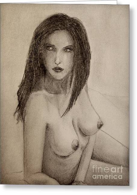 Aceo Original Drawings Greeting Cards - Nude 02 Greeting Card by Oblivion Arts