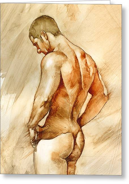 Naked Men Greeting Cards - Nude 41 Greeting Card by Chris  Lopez