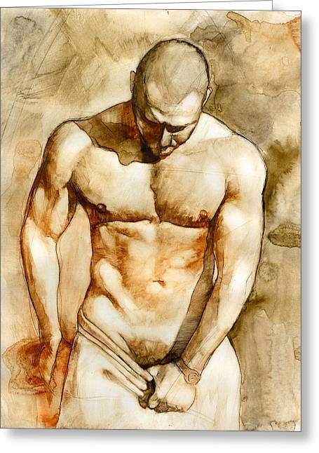 Naked Men Greeting Cards - Nude 43 Greeting Card by Chris  Lopez