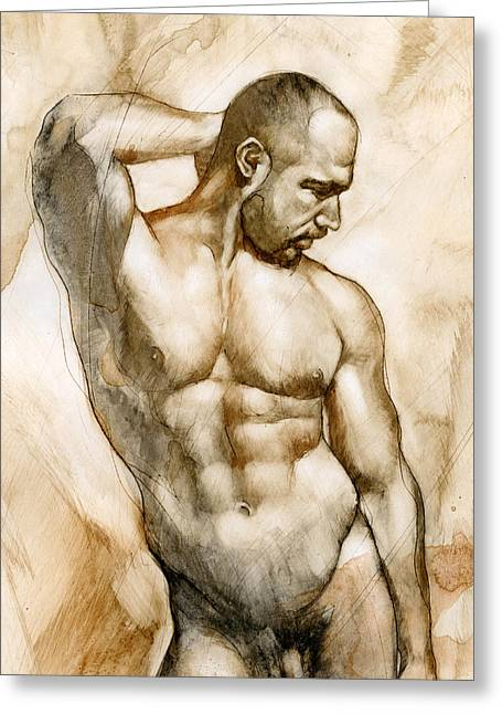 Naked Men Greeting Cards - Nude 46 Greeting Card by Chris  Lopez