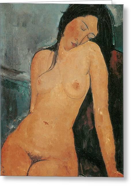 Nude Greeting Card by Amedeo Modigliani