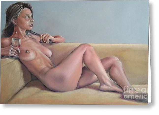 Nude And Red Wine Greeting Card by Ahto Laadoga