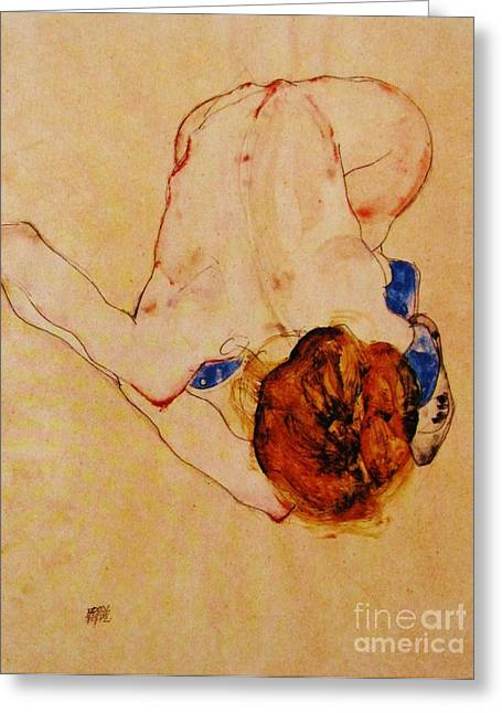 Schiele Drawings Greeting Cards - Nude Bending Forward Greeting Card by Pg Reproductions