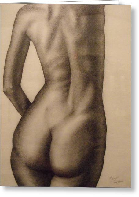 Indoor Still Life Paintings Greeting Cards - Nude Female Study of Back Greeting Card by Neal Luea