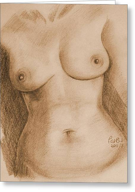 Women Only Greeting Cards - Nude Female Torso - PPSFN-0002-in Sepia Greeting Card by Pat Bullen-Whatling