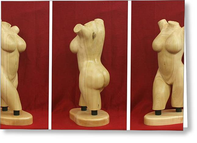Standing Sculptures Greeting Cards - Nude Female Wood Torso Sculpture Roberta    Greeting Card by Mike Burton