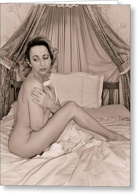 Nude Marilyn Monroe Greeting Cards - Nude In Bed Greeting Card by Clare Baird