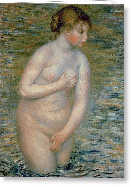 Nude In The Water Greeting Card by Pierre Auguste Renoir
