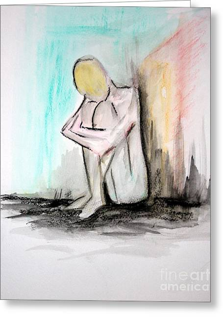 Frontal Nude Greeting Cards - Nude in watercolor 4 Greeting Card by Julie Lueders