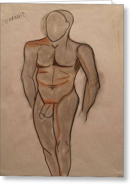 Figure Drawing Greeting Cards - Nude Male Drawing Greeting Card by Teri Schuster