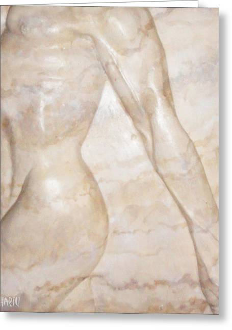 Male Reliefs Greeting Cards - Nude Male Strolling Greeting Card by Tina Hariu