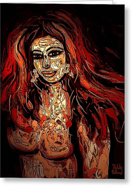 Full Body Mixed Media Greeting Cards - Nude Greeting Card by Natalie Holland