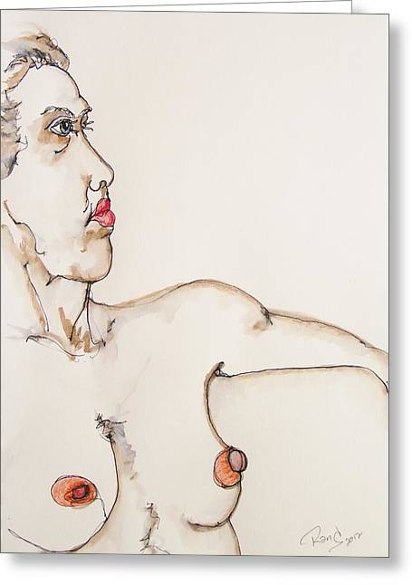Conte Pencil Drawings Greeting Cards - Nude on Chair Greeting Card by Rand Swift