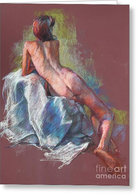 Live Pastels Greeting Cards - Nude on Cranberry Greeting Card by Kristina Laurendi Havens