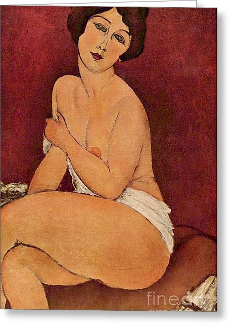 Modigliani; Amedeo (1884-1920) Greeting Cards - Nude on Divan Greeting Card by Pg Reproductions