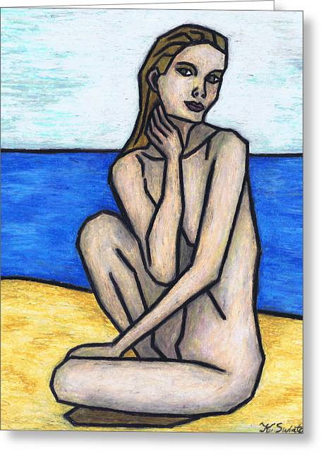 On The Beach Pastels Greeting Cards - Nude on The Beach Greeting Card by Kamil Swiatek