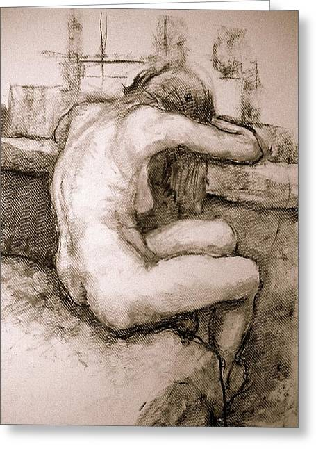 Depression Drawings Greeting Cards - Nude on the window Greeting Card by Alfons Niex