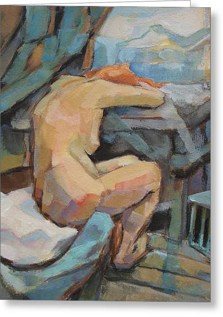 Interior Scene Greeting Cards - Nude Painting 3 Greeting Card by Alfons Niex