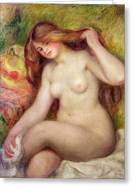 Shower Paintings Greeting Cards - Nude Greeting Card by Renoir