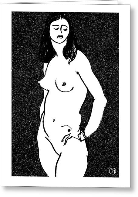 Oil Pastel Greeting Cards - Nude Sketch 17 Greeting Card by Leonid Petrushin
