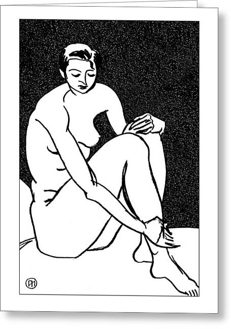 Nu Greeting Cards - Nude Sketch 27 Greeting Card by Leonid Petrushin