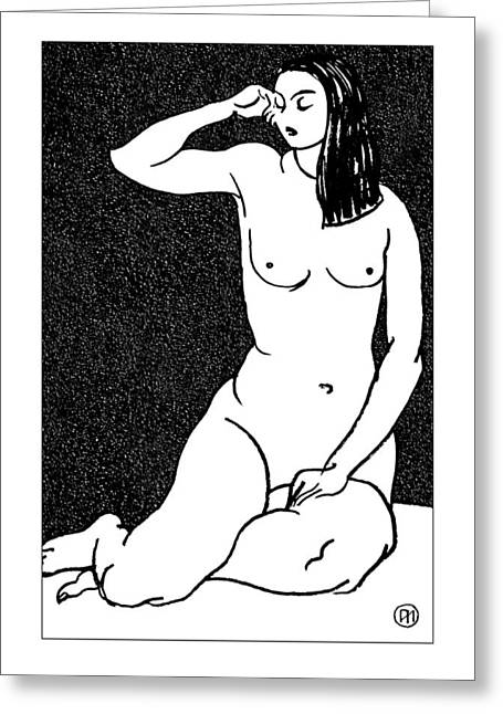 Nude Sketch 28 Greeting Card by Leonid Petrushin