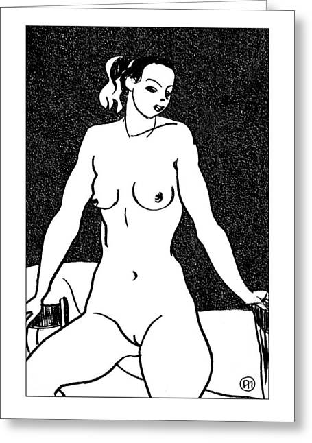 Nude Sketch 31 Greeting Card by Leonid Petrushin