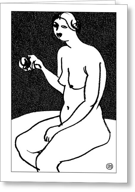 Nu Greeting Cards - Nude Sketch 36 Greeting Card by Leonid Petrushin