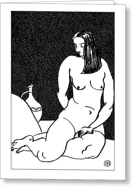 Nude Sketch 38 Greeting Card by Leonid Petrushin