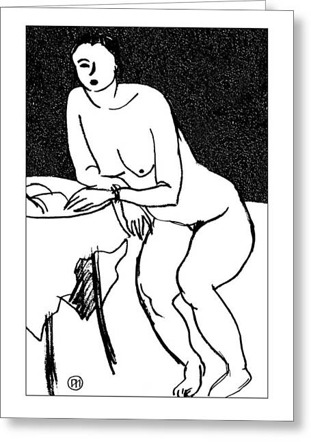 Nude Sketch 40 Greeting Card by Leonid Petrushin