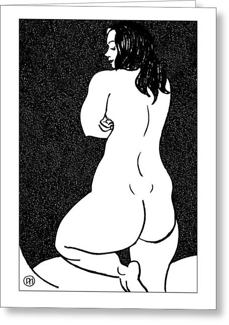 Figurative Greeting Cards - Nude Sketch 44 Greeting Card by Leonid Petrushin