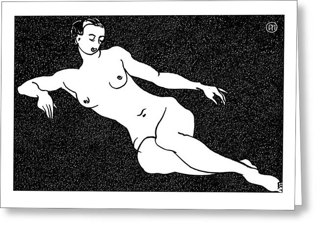 Nude Sketch 54 Greeting Card by Leonid Petrushin