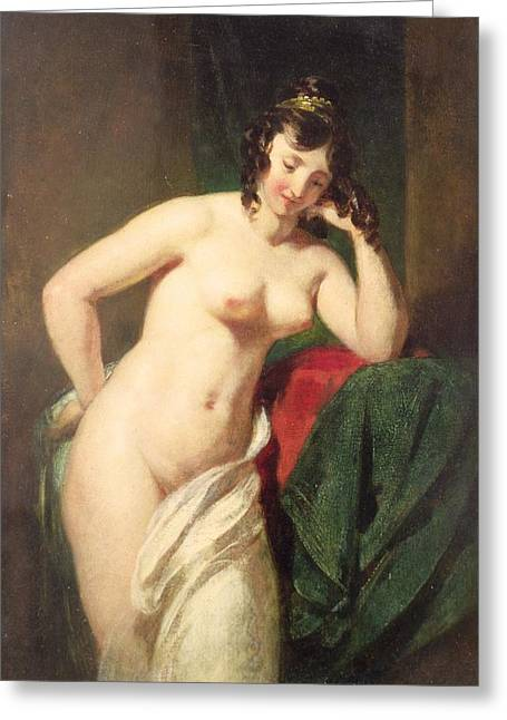 Best Sellers -  - White Cloth Greeting Cards - Nude Greeting Card by William Etty