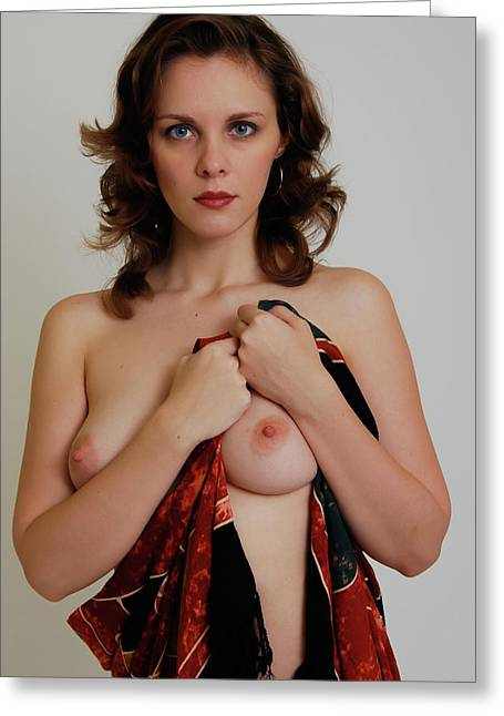 Nude Photograph Greeting Cards - Nude with Sarong Greeting Card by Harry Spitz
