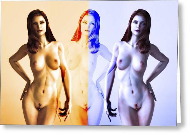 Human Biology Greeting Cards - Nude Woman Through The Seasons, Artwork Greeting Card by Christian Darkin