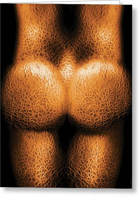 Melon Greeting Cards - Nudist - Just Cheeky Greeting Card by Mike Savad