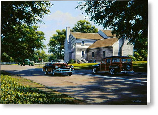Station Wagon Paintings Greeting Cards - Nugents Cross Roads Greeting Card by Frank Dalton