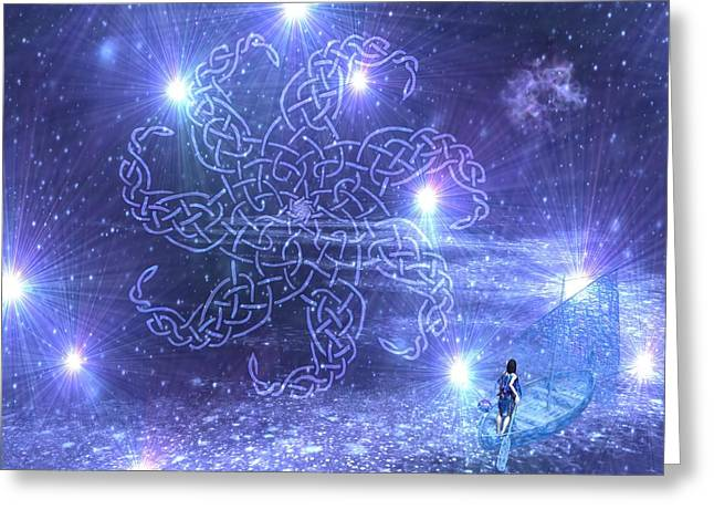 Knotwork Greeting Cards - Nuit Greeting Card by Diana Morningstar