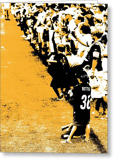 Jerome Bettis Greeting Cards - Number 1 Bettis Fan - Black and Gold Greeting Card by Angela Rath