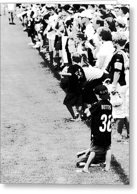 Jerome Bettis Greeting Cards - Number 1 Bettis Fan - Black and White Greeting Card by Angela Rath
